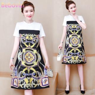 Đầm Midi tay ngắn hoạ tiết in phong cách Hàn Quốc
