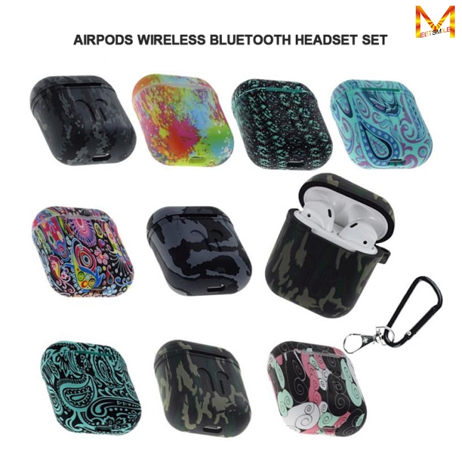 Camouflage Silicone Shockproof Protector Cover Case Carabiner for Airpods Case i10 i12 TWS Luminous