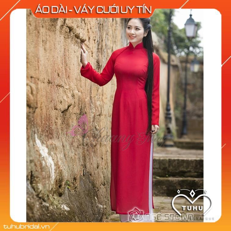 Áo dài đỏ tươi_Chaang_May sẵn áo dài truyền thống - vải áo dài lụa đẹp co giãn