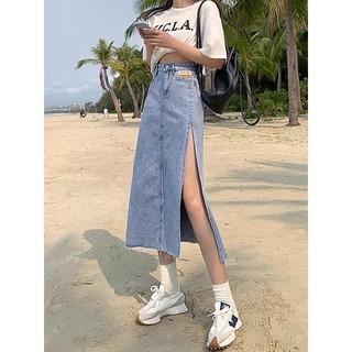 (Sẵn+ Ảnh Thật) Chân Váy Dài Xẻ Tà ,Váy Jeans Chữ A DENIM cạp cao