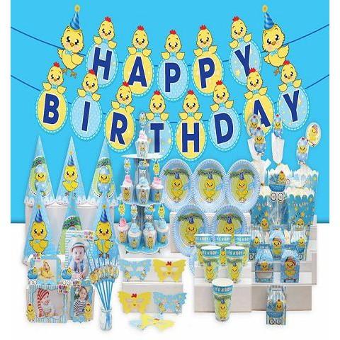 Set phụ kiện trang trí sinh nhật Gà xanh cho bé trai