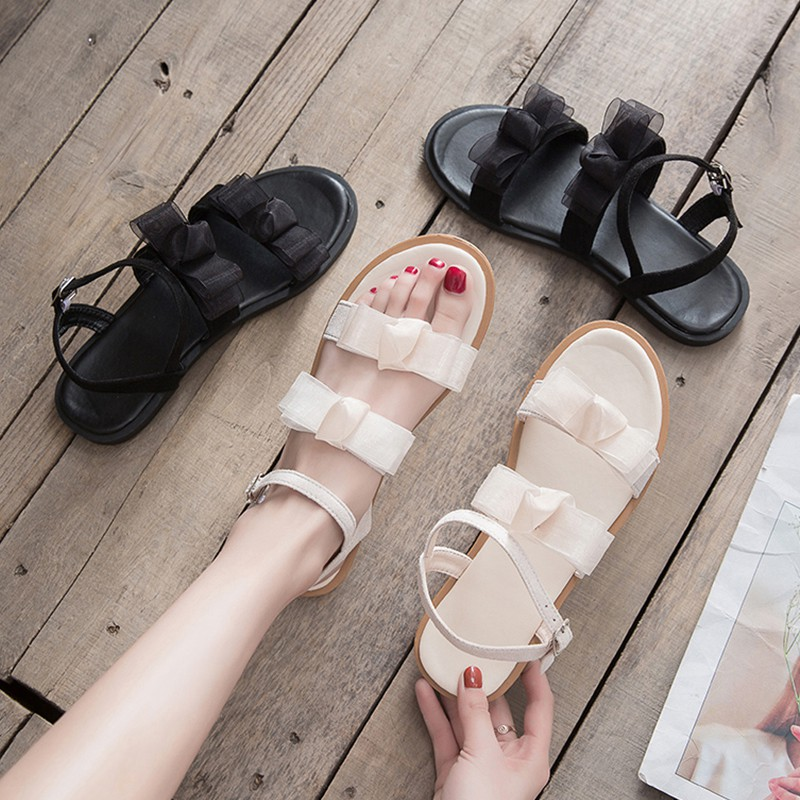 summer Korean version of the wild word with a bow gentle shoes flat female shoes