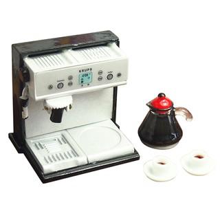 Dollhouse Miniature Kitchen Metal Expresso Coffee Machine with Coffee