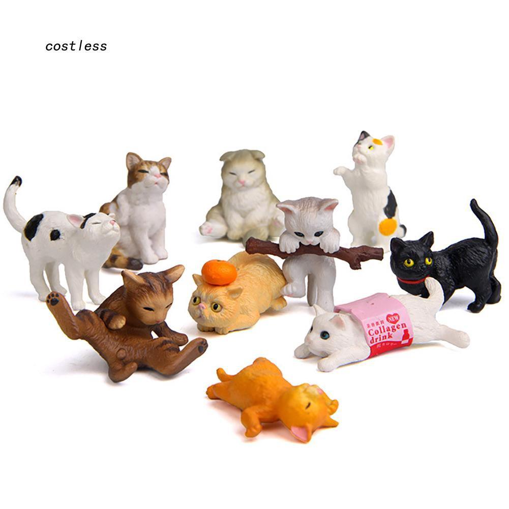 CT♥10Pcs Mini Realistic Cat Figurine Sculpture PVC Toy Dollhouse Garden Ornaments