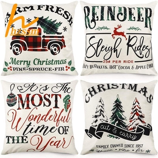 Christmas Pillow Covers Buffalo Plaid Farmhouse Throw Pillowcase