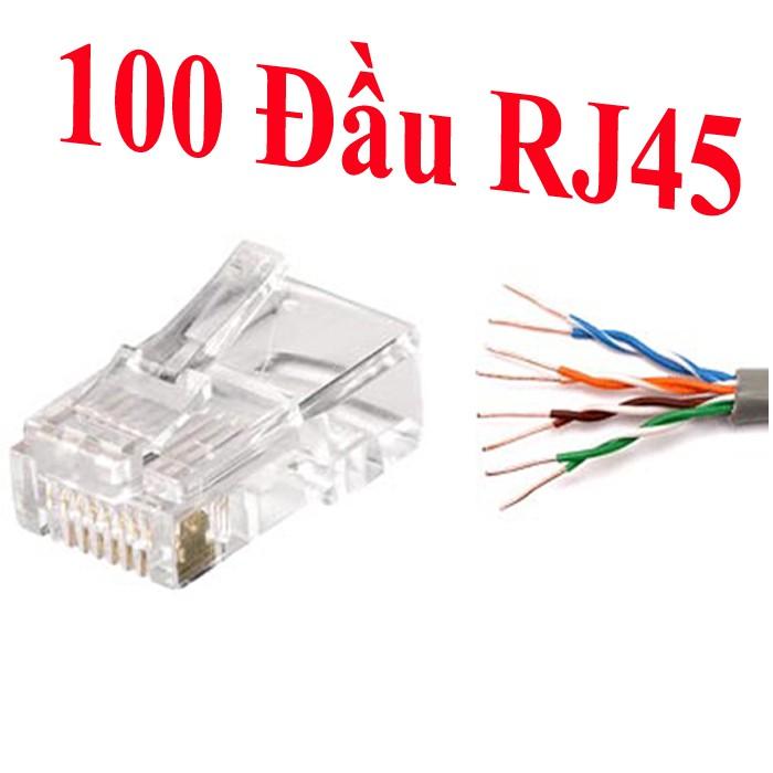 HỘP 100 hạt mạng - đầu rj45 - bấm đầu mạng - rj45