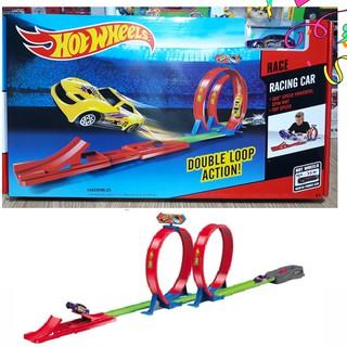 Đường đua xe Hot Wheels 2 vòng xoắn và 1 xe đồ chơi lắp ghép trẻ em trẻ em