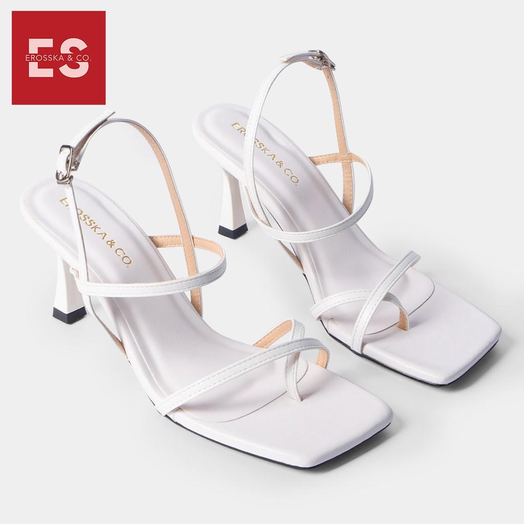 Giày cao gót Erosska thời trang phối dây gót nhọn kiểu dáng xỏ ngón cao 7cm màu trắng _ BM004