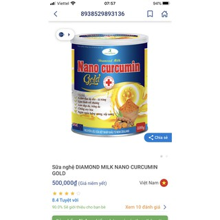 [hộp 900gram] sữa nghê nano curcumin gold