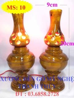 Đèn tổ ong bàn thờ điện – Mẫu nhỏ – Gỗ tràm MS: 10
