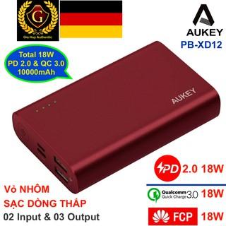 Pin sạc dự phòng AUKEY PB-XD12 10000mAh 18W THÂN NHÔM (01 cổng PD 2.0 18W & 02 cổng QC 3.0 18W)