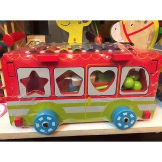 Xe bus thả hình kết hợp đàn – đồ chơi gỗ – hình thật