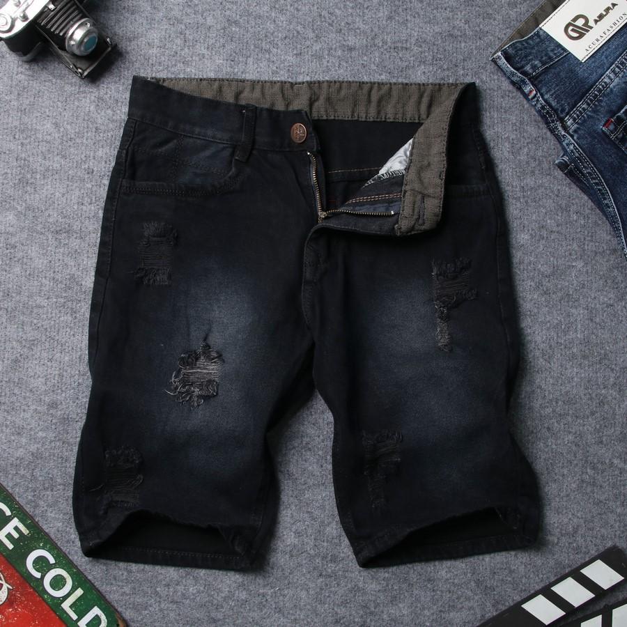 Quần short jean nam xám đậm rách đẹp TS416 Tronshop