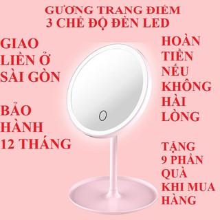 Gương để bàn gương trang điểm đèn led gương mini gương di động 3 chế độ đèn hàng chính hãng bảo hành 12 tháng