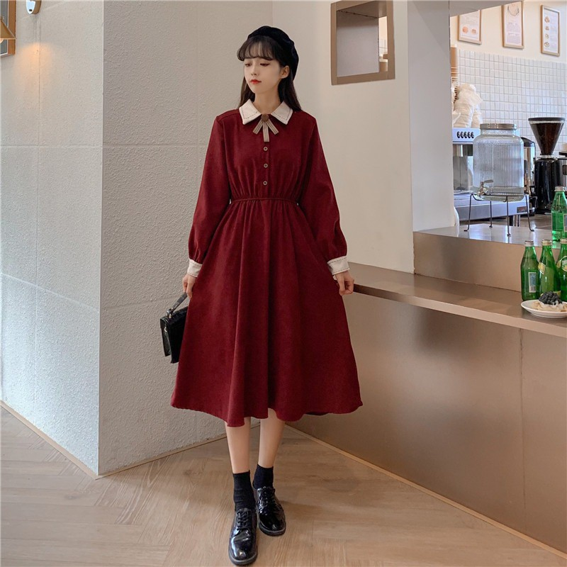 Váy dáng dài xòe Vintage - Hàng Thiết kế Hàn