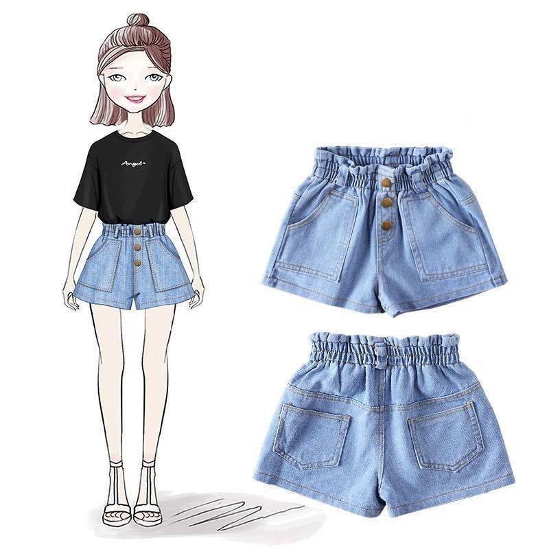 Quần short denim dáng rộng thời trang phong cách hàn quốc cho bé gái, quần đùi bò xinh xắn bé gái