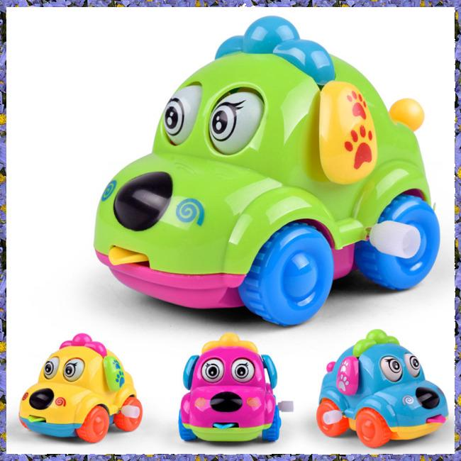 Baby Kids Clockwork Cartoon Puppy Car Animal Educational Toy Car