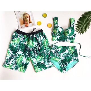 Set cặp quần đôi đi biển kèm áo họa tiết lá nổi bật