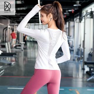 Áo thể thao dài tay xỏ ngón lưng phối lưới chính giữa tập gym, yoga thumbnail