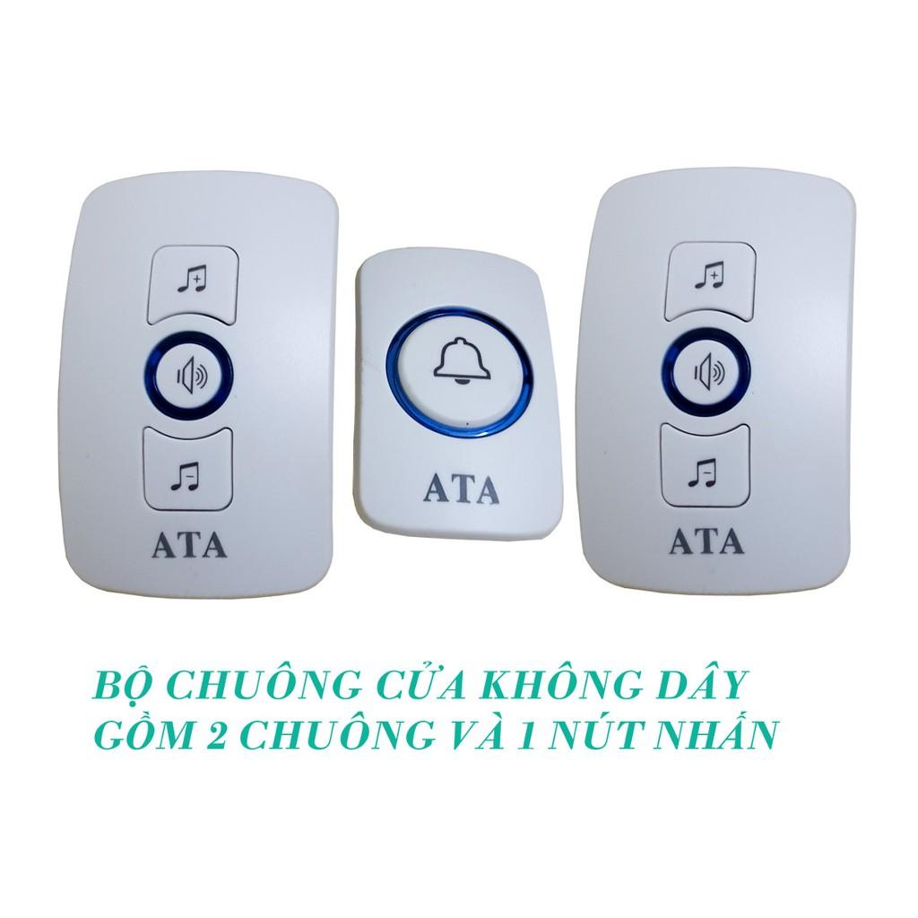 Giá bán Bộ chuông - 2 CHUÔNG không dây đa năng ATA AT-916 - có 2 mẫu nút  nhấn