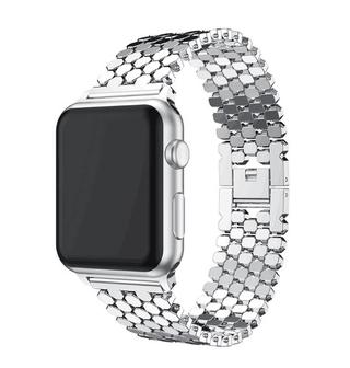 Dây đeo inox họa tiết vảy cá cho đồng hồ thông minh Apple watch
