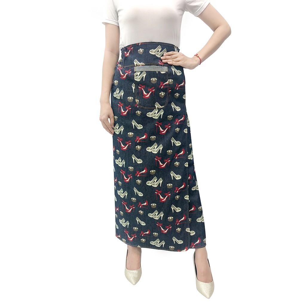 váy chống nắng freeSize jean hoa văn xẻ trước cố định bằng khuy VJXT0048