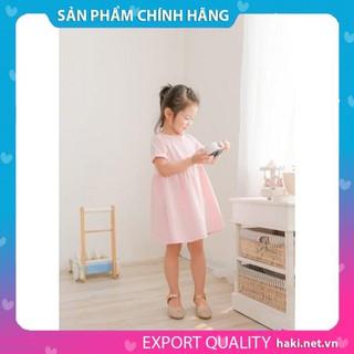 Váy bé gái cotton cộc tay - hồng pastel Haki, đầm bé gái, váy mùa hè cho bé gái, váy cộc tay, váy hè, váy thiết kế