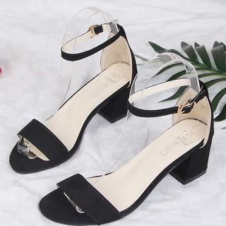 Dép , Sandal nữ cao gót 5 phân da lộn quai ngang đế vuông GCG02 (to hơn size chuẩn 1 size)