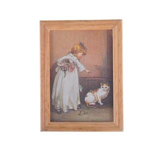 Tranh trang trí nhà búp bê hình cô gái và mèo☆