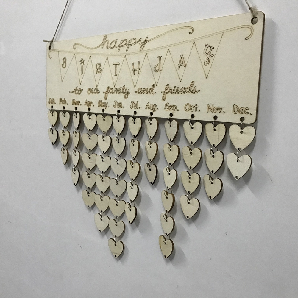 DIY Wooden Calendar Wood Birthday Special Dates Reminder Board Ply Plaque Sign Family Wall Decor