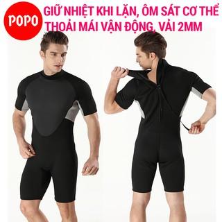 Bộ đồ lặn biển nam liền thân dày 2mm POPO quần áo lặn biển tay lỡ tay ngắn cho thợ lặn thumbnail