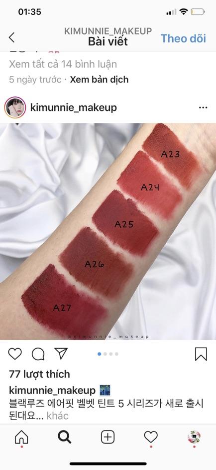 [Mã COSFS4 giảm 10% đơn 150K] ( Version 5 ) Son kem Black Rouge Air Fit Velvet Tint Ver 5: Night Series | Bam |