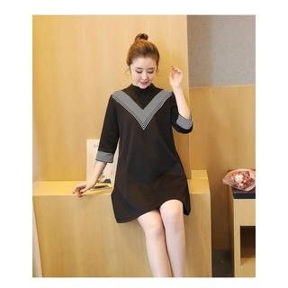 [Video + ảnh thật ] Váy Bầu Công Sở, Đầm Bầu Đen Tay Lỡ Viền Cổ Kẻ MYC1057 thumbnail