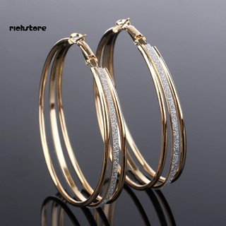 RICH_Women Fashion Frosted Multilayer Round Circle Dangle Earrings Party Jewelry Gift