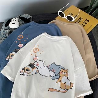 Áo thun 4 con mèo ngủ, áo thun tay lỡ dáng rộng mèo ngủ - kiểu dáng unisex thumbnail