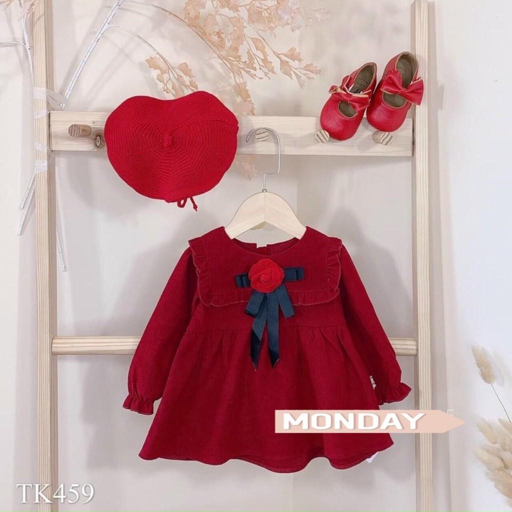 Váy đỏ kèm nơ xinh xắn cho bé gái