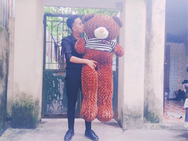 (Ảnh Thật 100%) Gấu teddy 1M2 khổ vải Hàng loại 1 Cao 1m