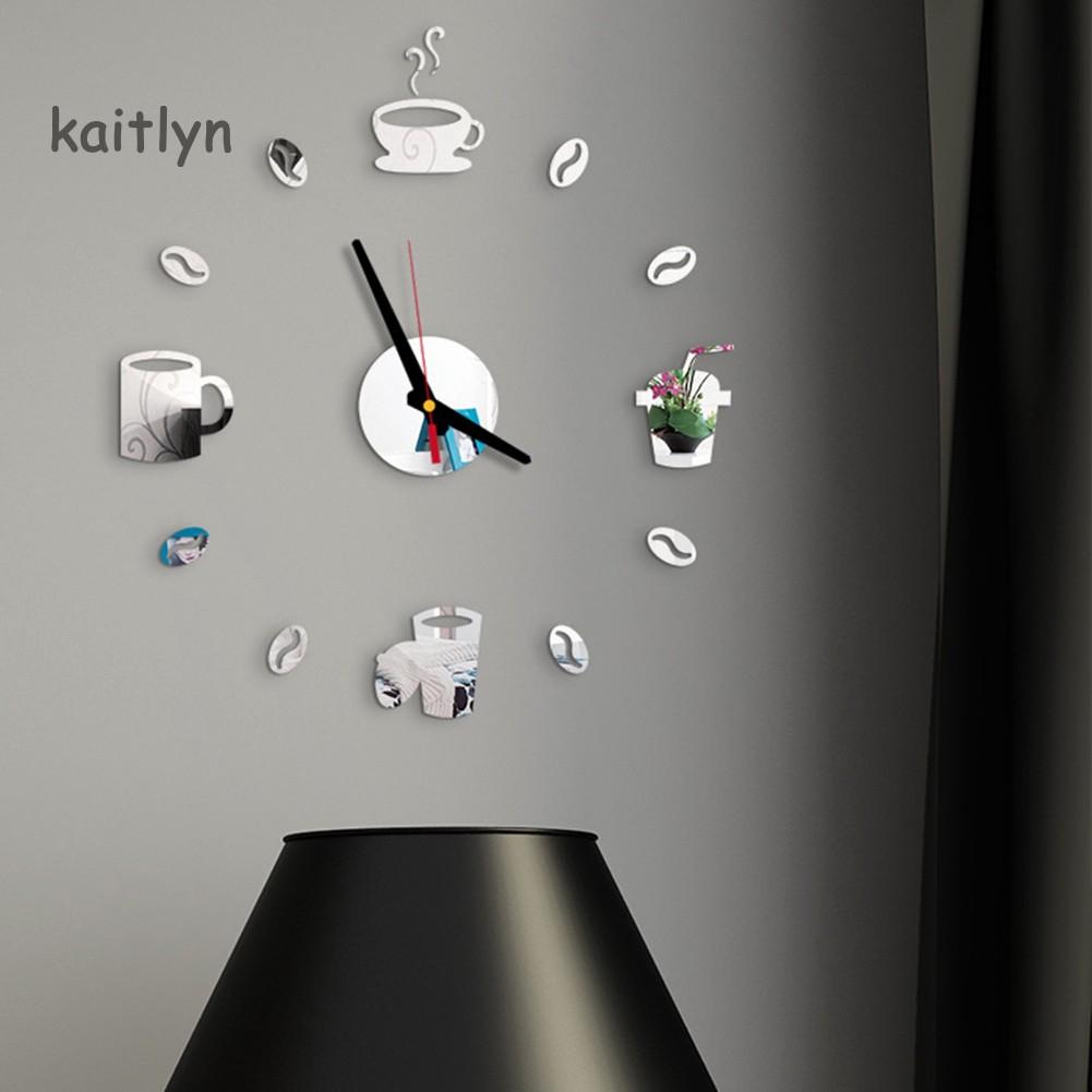 Nhãn dán trang trí tường phòng hình dạng đồng hồ hiệu ứng gương acrylic 3D DIY