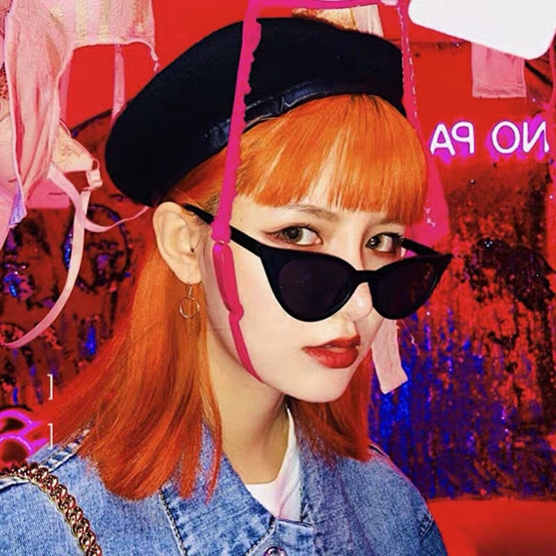 Ins European and American Cat's Eye Sail Sunglasses New Retro European and American Fashion Ladies Small Frame Sunglasses Round Face...