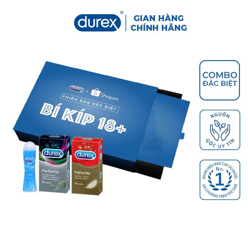 Bộ sản phẩm Durex phiên bản đặc biệt trên Shopee (1 bao cao su Performa 12 bao, 1 Fetherlite 12 bao, 1 gel 50ml)