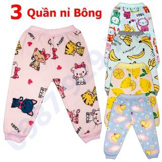 COMBO 3 Quần nỉ bông mùa thu đông  cực đẹp cho bé gái 2-16 kg _QNB, quần nỉ bông cho bé - 3QNBBG