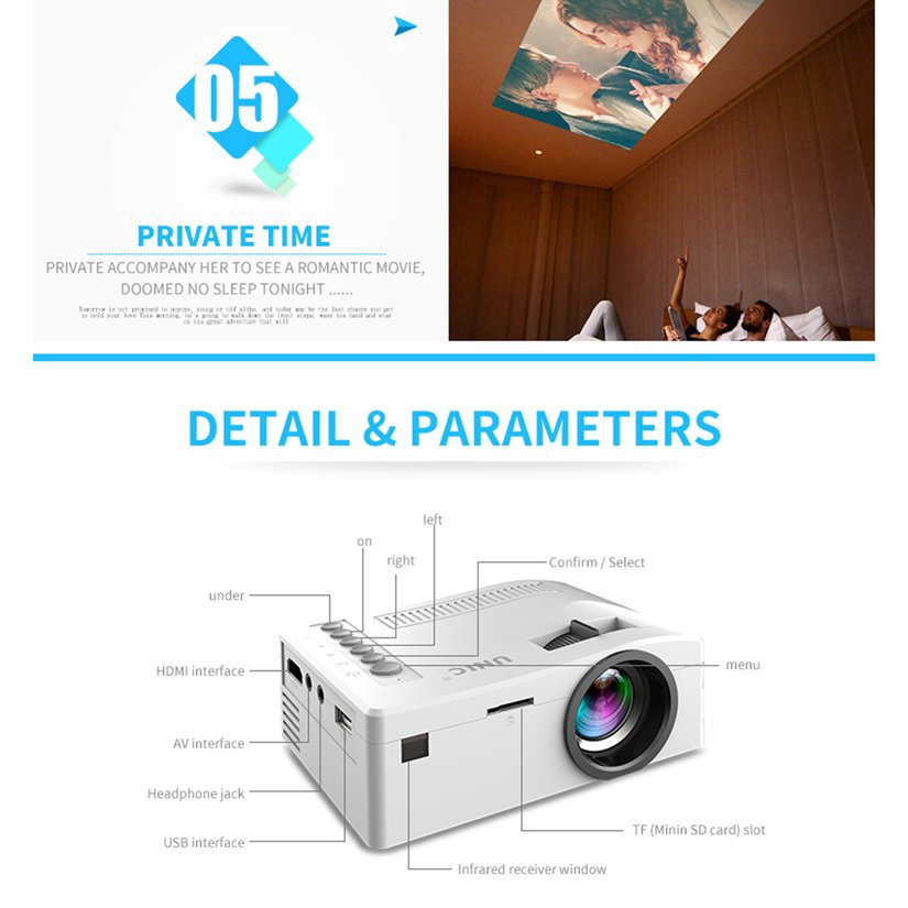 8.15【HOT】UC18 Household HD 1080P TFT LCD Projector Multimedia Theater Cinema Projector