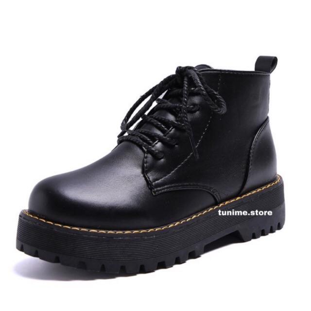 (CÓ SẴN - Ảnh thật) Giày boot da trơn ulzzang