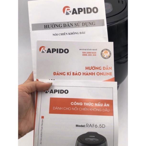 ✔️ Sale (Có Sẵn+Tặng khay nướng) Nồi chiên không dầu điện tử RAPIDO model RAF 6.5D 1800w dung tích 6,5l BH 12 THÁNG n