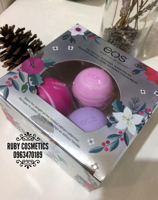 Set Son Dưỡng Trứng EOS Visibily Soft Lip Balm 3 Pack