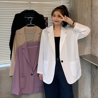Korean Style Fashion Long Sleeve Blazer Jacket Loose Long Top