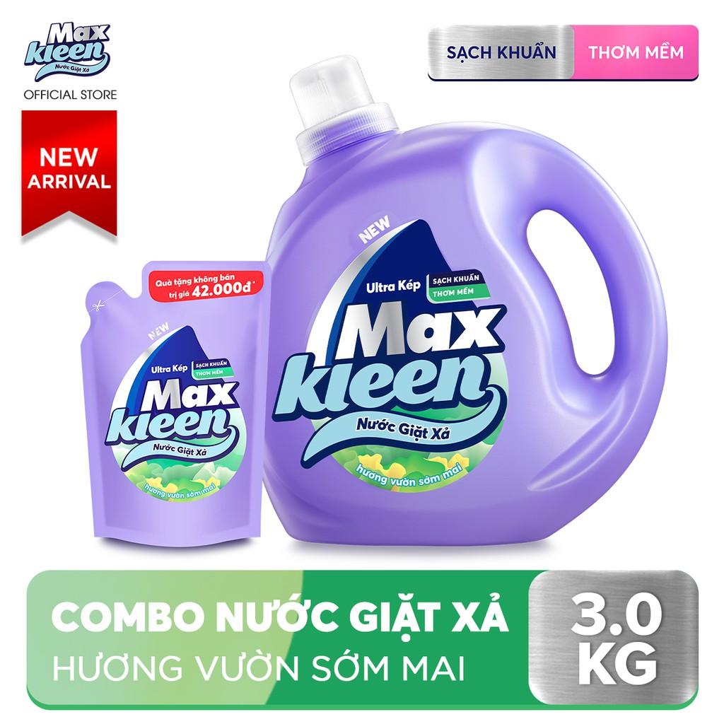 Chai nước Giặt Xả MaxKleen Hương Sớm Mai 2,4kg tặng Túi nước giặt xả 600g