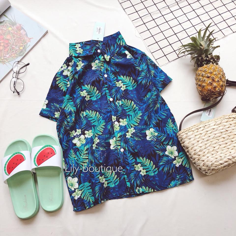 [HÀNG CÓ SẴN][CÒN 1 ÁO] áo sơ mi Hawaii xanh dương 150k (order)