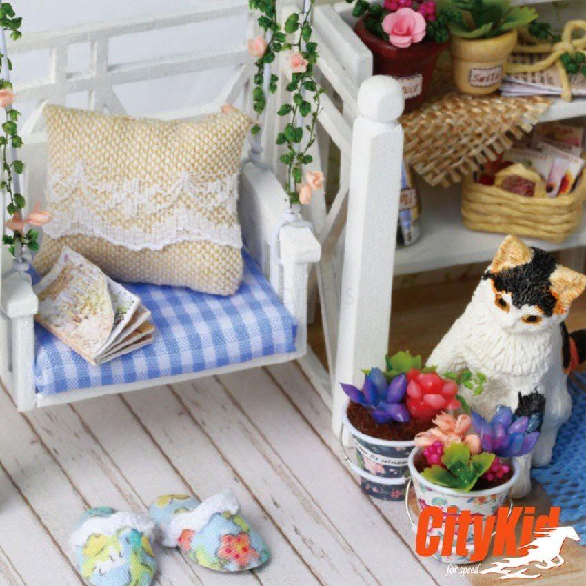 Đồ chơi mô hình nhà gỗ DIY Cute Room H013( Tặng Mica + Keo)