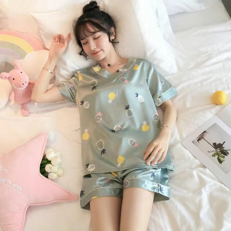 Mặc gì đẹp: Bộ Đồ Nữ ❤️FREESHIP❤️ Bộ Đồ Ngủ Lụa pijama cộc tay mặc nhà cute hoạt hình họa tiết dễ thương BN23
